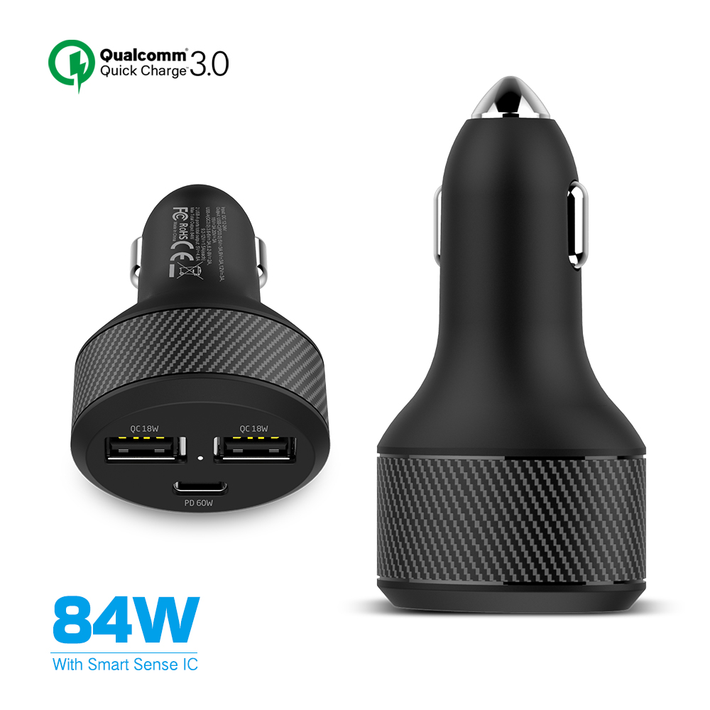 60W PD Car Charger 3 Port 84W Max Power Output 12-24V Input For Macbook