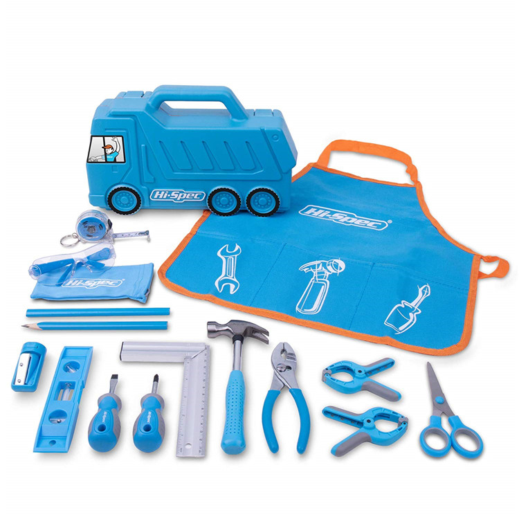 Hispec 17 pc children kids real tool set <strong>kit</strong> for kids DIY with Blue Garbage Truck Toy Tool Box