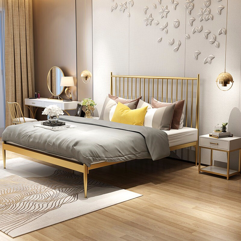 modern high quality chrome finishing gold bed frame