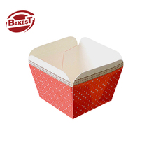 BAKEST hot sale Fancy red polka square <strong>paper</strong> cake cup for baking tools