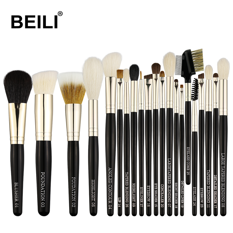 BEILI Black silver luxury <strong>21</strong> Pieces make up brushes Natural pony goat hair Professional makeup brush set private label