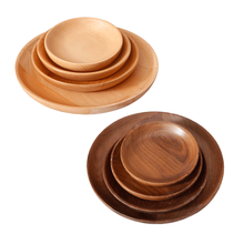 high polished beech walnut wooden dishes round wood serving <strong>plate</strong> wholesale