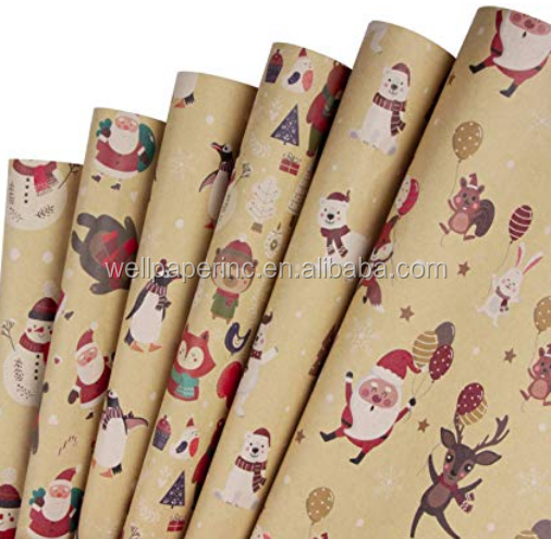Christmas Gift Wrapping Paper - Brown Kraft Paper with Red and Green Pattern for Gift-Christmas Elements Collection