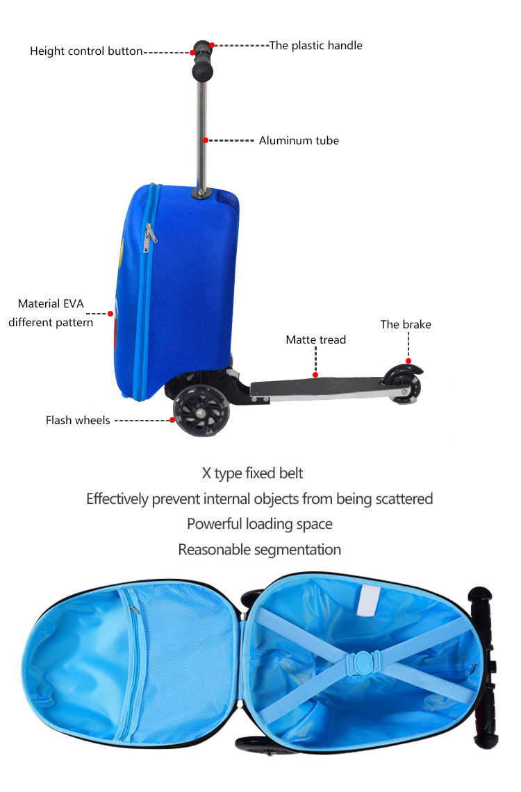 China Luggage Factory Supply Suitcase Trolley Bag Set Owl Kids Travel Scooter Luggage