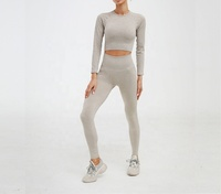 2 pcs Crop Top Yoga Gym Wear Set ,Long Sleeve Yoga Sets With Thick Fabric
