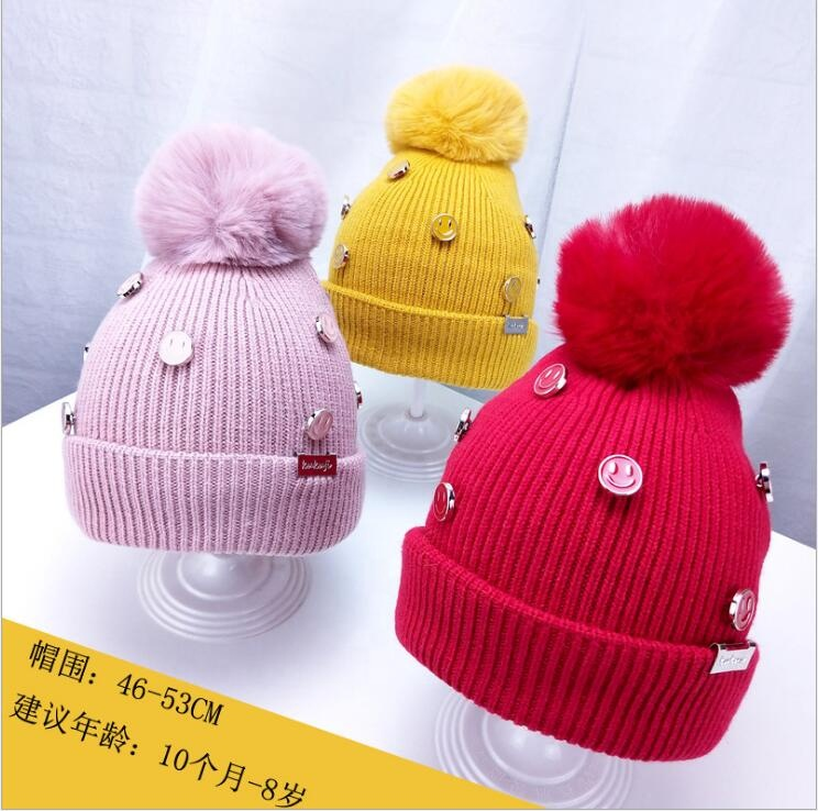 <strong>Y</strong>-Cute Design Custom Made Leather Patch Cable Knit Children Kids Unisex Baby Beanie Hat Cap With Pom Pom