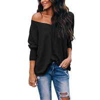 Women's Casual V-neck Strapless Bat Sleeve Womens Top