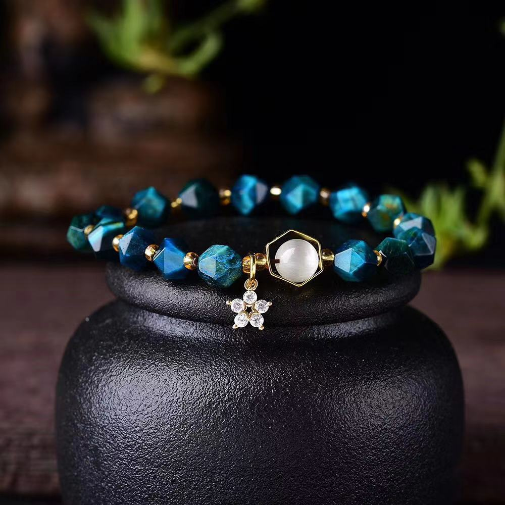 HGC002 Trade assurance Natural stone Irregular bead bracelet shiny zircon blue diy bead charm single 8mm bracelet Gorgeous jewel
