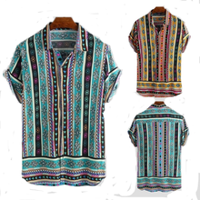 Summer <strong>Men's</strong> Short Sleeve Print Wrap Casual <strong>Shirt</strong> Ethnic Style Loose Button Beach <strong>Shirt</strong> Top