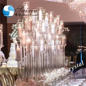 ZT-323L Factory wholesale  crystal glass candelabra centerpieces wedding