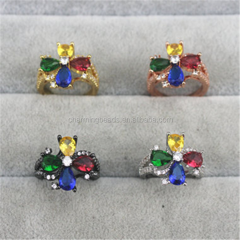 CH-CCR0068 Fashion cz ring,exquisite gold/silver/rose gold/gunmetal color cz ring,wholesale cz adjustable ring jewelry