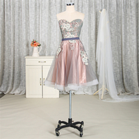 Wholesale sweetheart flowers lace short cocktail prom dress for women