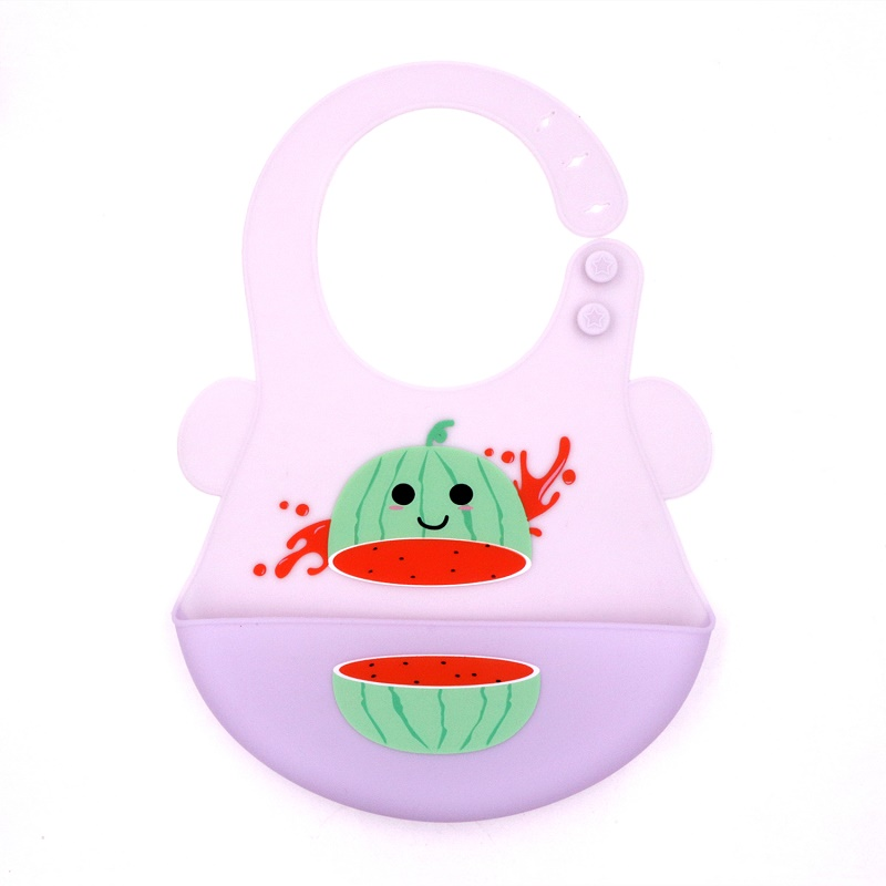 Mult-shape Soft Waterproof Silicone Baby Bib with Food Catcher Baby Silicone Bib
