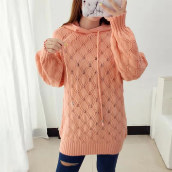 Autumn Winter  Women Sweaters Cute Hollow Out Ball Decoration Knitwear Sweater Jumpers Female Plus Size Pullovers