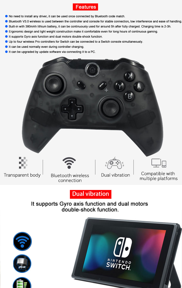 Wireless Gaming Controller For Nintendo Switch Pro Gamepad With Nfc Function Joystick
