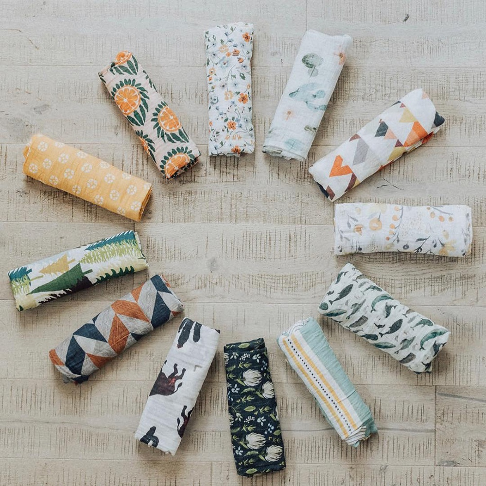 2020 Custom Wholesale Custom Print Organic Cotton Bamboo Muslin <strong>Baby</strong> Swaddle Blankets Wrap