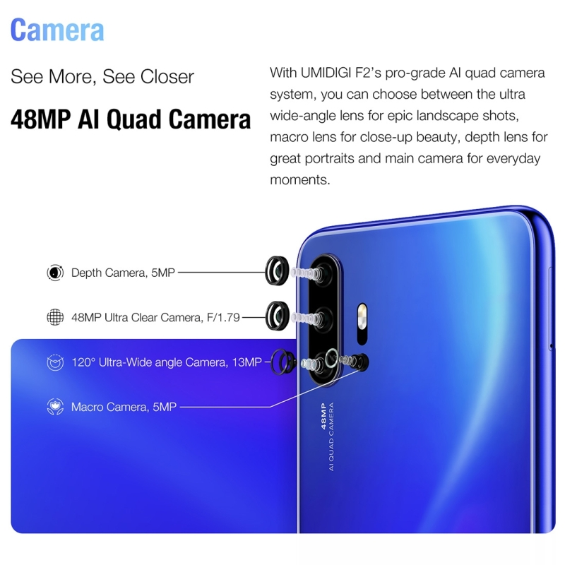 UMIDIGI F2, 48MP AI Camera, 6GB+128GB, 5150mAh Battery Fashionable Young Mobile Phone