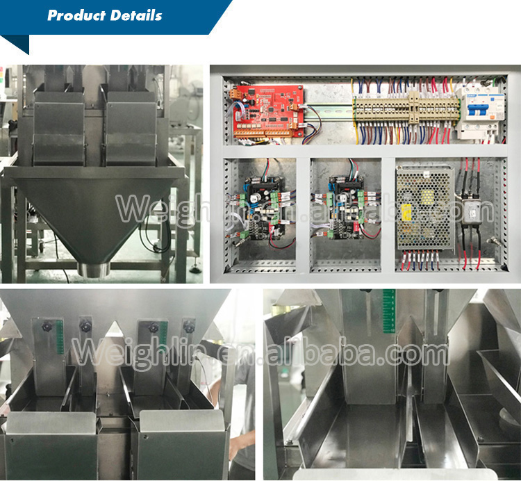 Automatic 2 head linear weigher filling rice sugar seeds