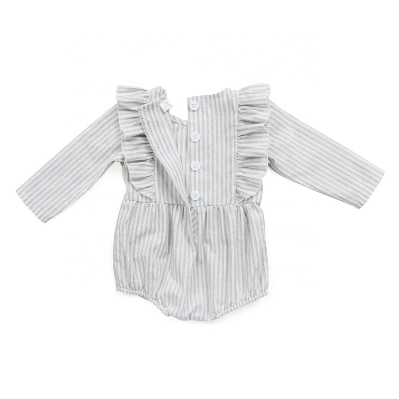 Cotton Linen stripe Baby Clothes Organic Fashion Playsuits Baby Rompers