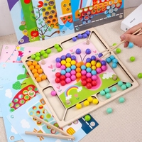intelligence focus training toy match table game for toddler hands brain training wooden clip beads toy