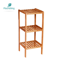 Free Standing Waterproof 3 Tier 100% Bamboo Bathroom Storage Rack <strong>Shelf</strong>