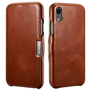 Best Selling in Stock Vintage Genuine Cowhide Leather Flip Cover Phone Case for iPhone XR