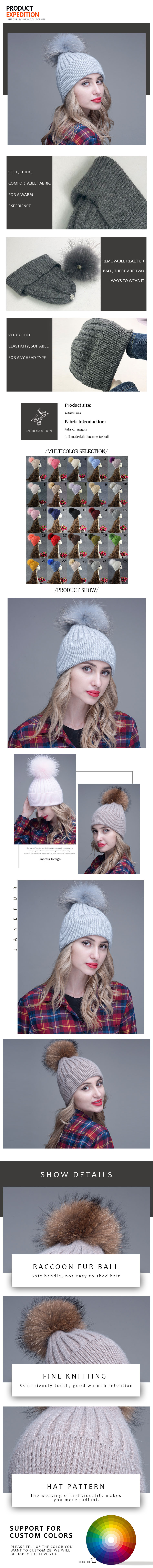 female fashion knit hat custom angora winter hat with removable raccoon fur pompom
