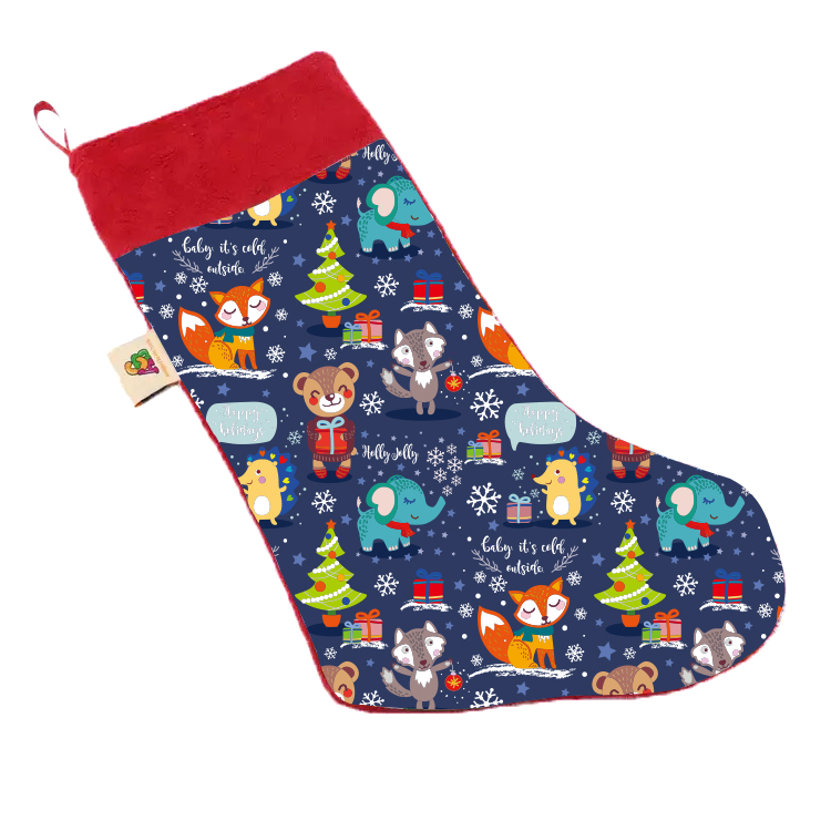 Holiday Decoration Sublimation Animal Printed Minky Blue Christmas Stocking