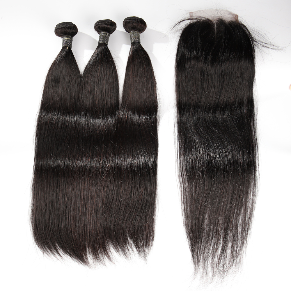Toocci Classic 3 + 1 Custom Raw Cuticle Aligned Human Straight indian <strong>hair</strong> 3 bundles with closure