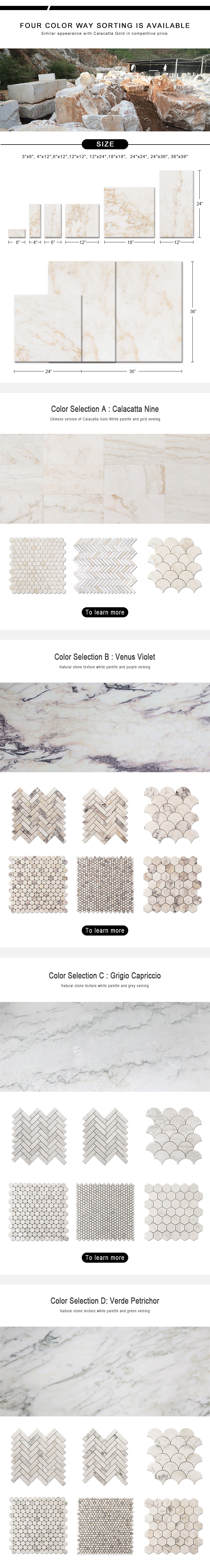 Calacatta Nine White Marble Mosaic Tile Wall Design Mosaic Tile