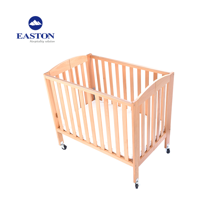 hotel room solid beech material baby cribs