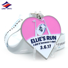 Longzhiyu 13 years professional sport medals 3d logo maker customized metal award medals souvenir heart shaped marathon medals