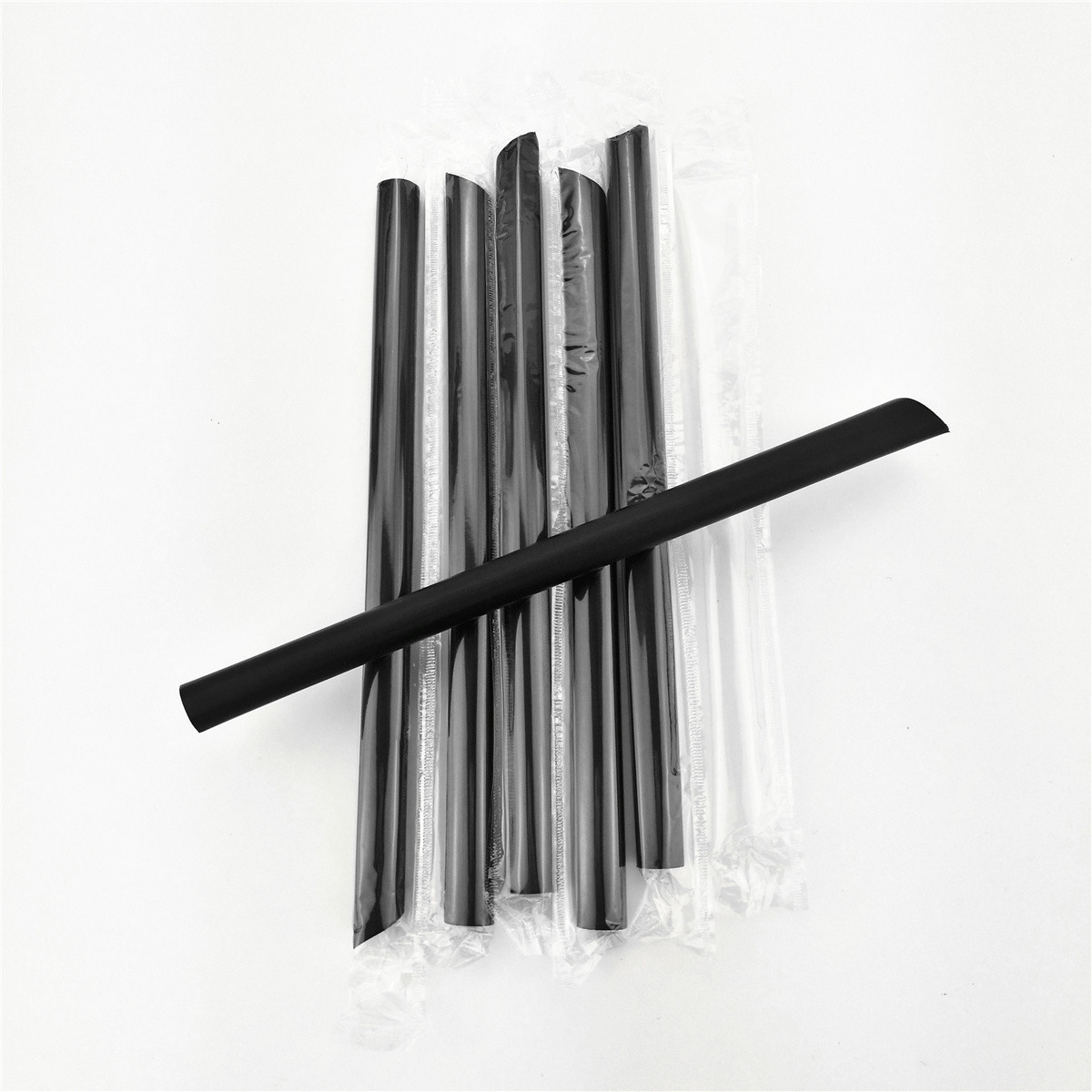 White and black big diameter drinking straw