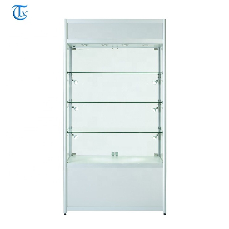 aluminum frame tempered glass display cabinet for jewelry store