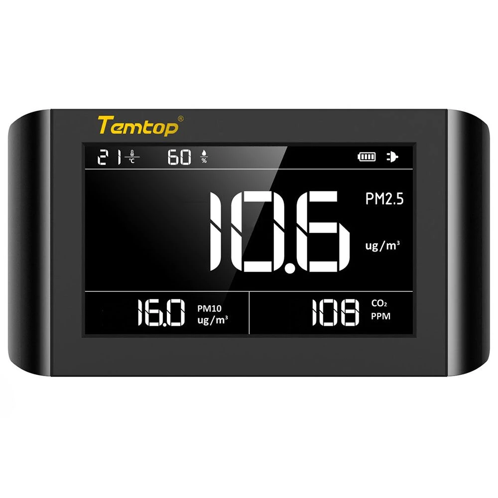 Temtop <strong>P1000</strong> Air Quality Monitor for PM2.5 PM10 CO2 Temperature Humidity Indoor Detector Large <strong>LCD</strong> Display Built-in Rechargeable