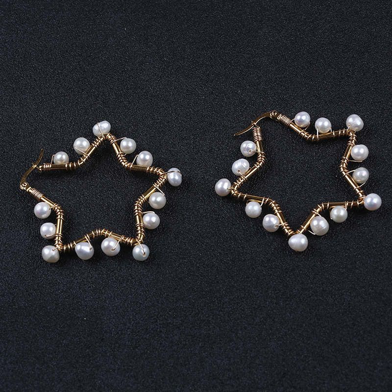 Star design Freshwater Pearl Earrings Gold Plated Hoop Wire Wrapped