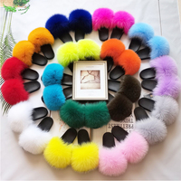 women fur slides real fox fur slippers luxury fur slides