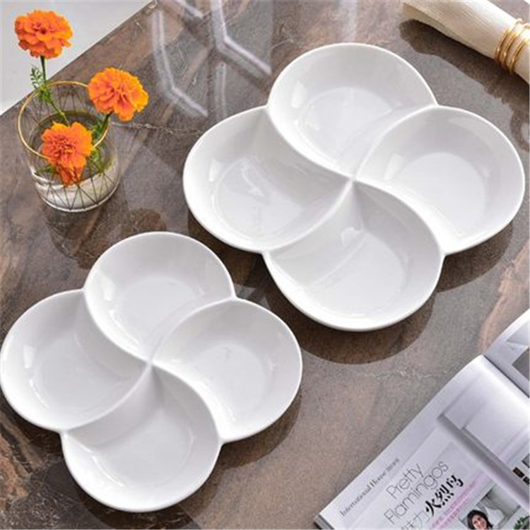 Good quality compartment design porcelain catering 4 divided white serving plate