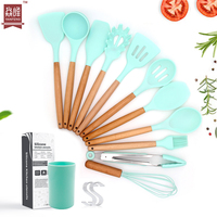 Amazon kitchenware 11pcs cooking tools with natural wood handle