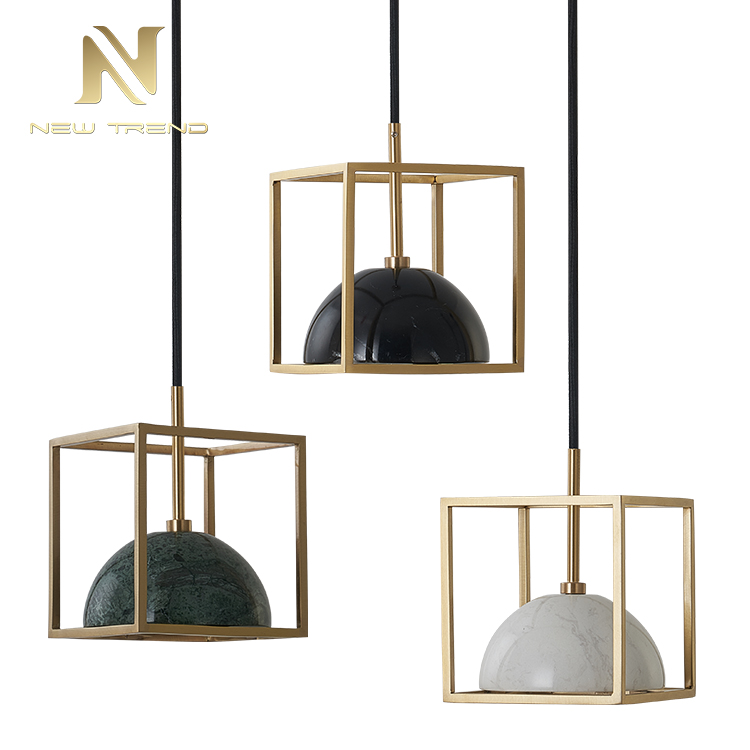Simple modern style restaurant corridor retro brass marble <strong>led</strong> Chandelier