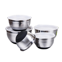 2019 Hot Salad Bowl Airtight Bowl Metal Fruit Bowl with <strong>Flat</strong> and Silicone Bottom Stainless Steel