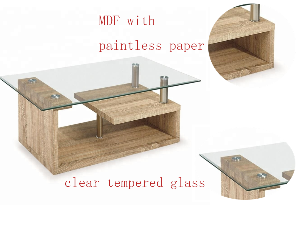Hot sale elegant and shining outlook clear tempered glass coffee table for living room