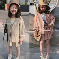 2019 autumn new boutique children's clothing 3-8 years old girl suit Japanese and Korean plaid small suit plus skirt