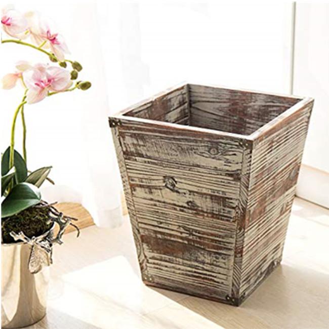 Torched Wood Square Wastebasket Bin with Decorative Metal Brackets