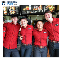Custom fashion fast food and beverage catering service kfc uniforms polo for catering staff