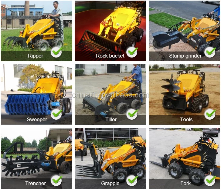 Jining Infront small agriculture machinery mini digger wheel type mini skid steer