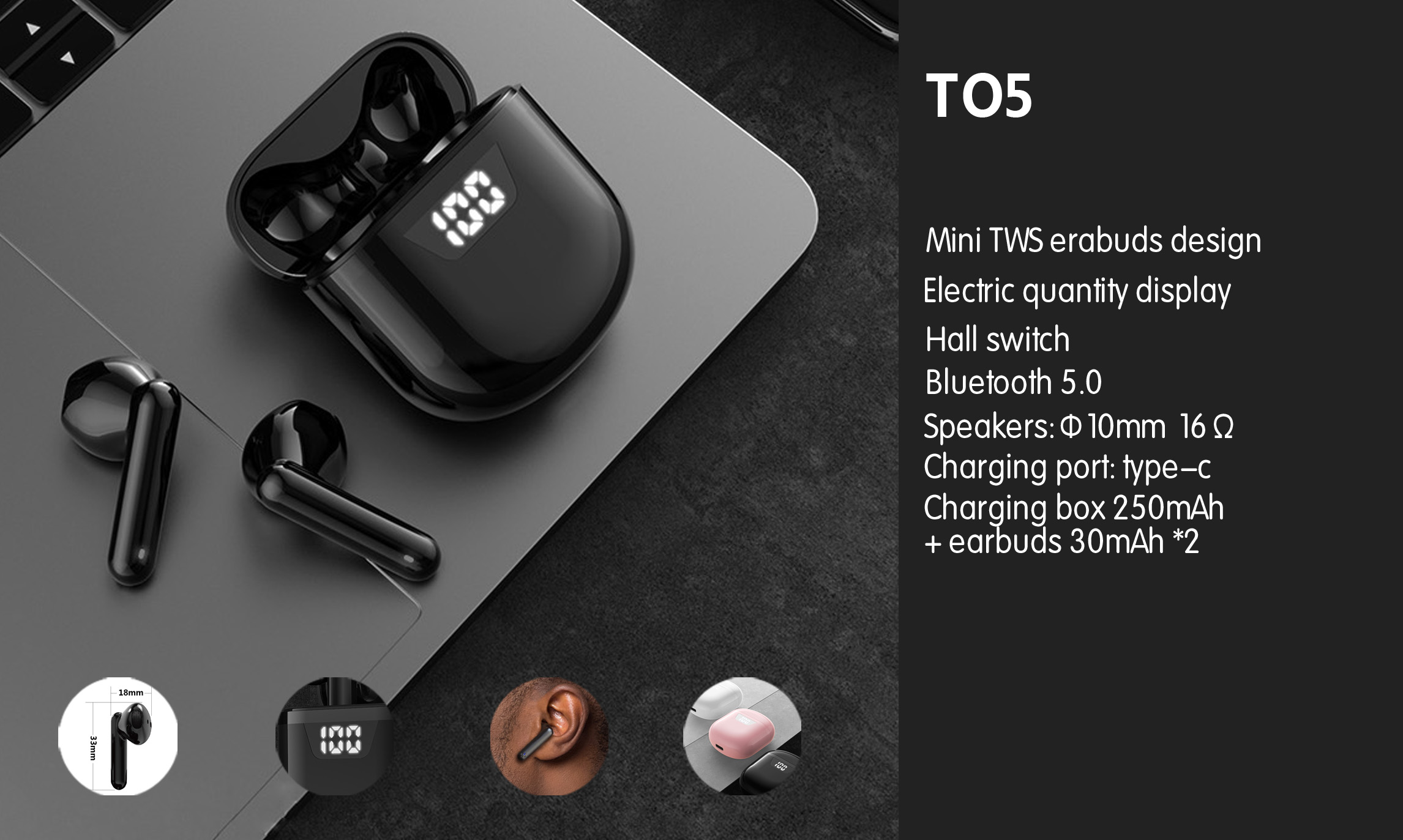 OEM True Wireless Bluetooth Earbuds Touch Controls head phones audifonos consumer electronics true wireless earbuds