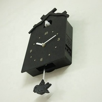 HR275 High Quality Black classical Wooden cuckoo wall clock with pendulum clock movement