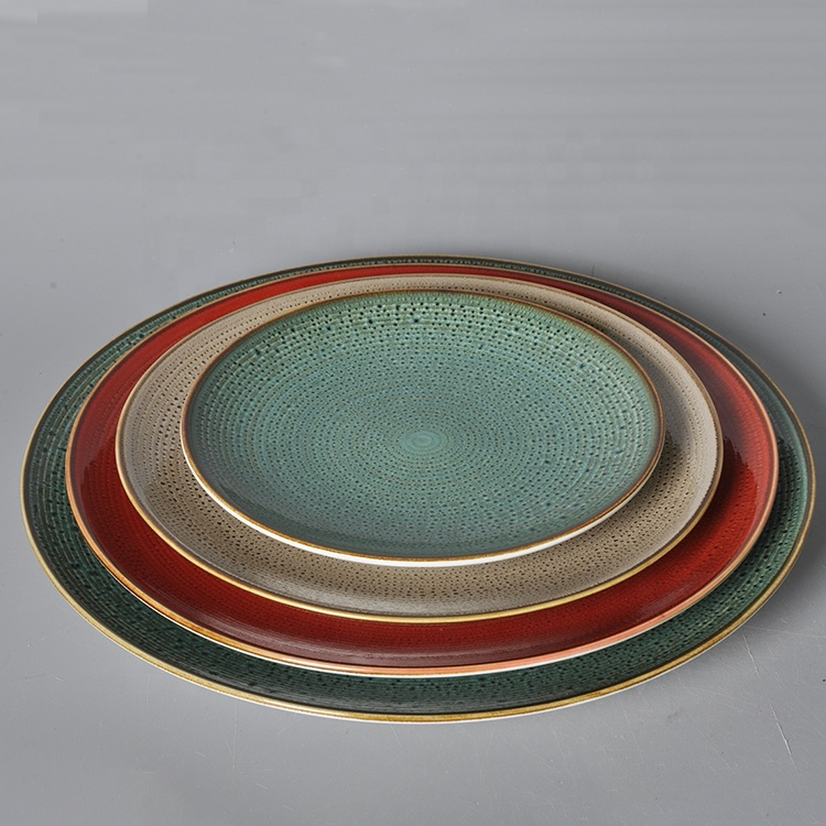 Wholesale 2020 Round Hotel Restaurant Ceramic Plate Catering Porcelain Color Glazed Catering Dinner Plates