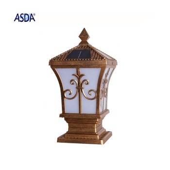 High quality antique brass  solar decorative outdoor LED pillar light for garden park courtyard villa
